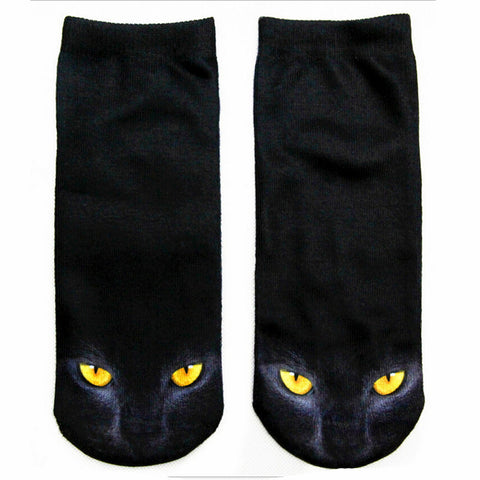3D Printed Various Designs Low Cut Cat Socks Women