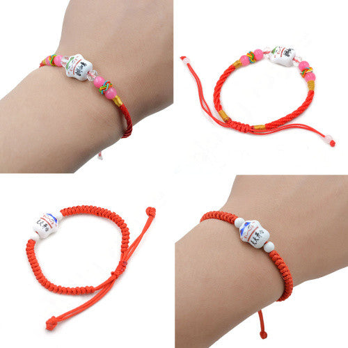 Chinese Style Ceramic Fortune Cat Lucky Red Rope Chain Bracelet
