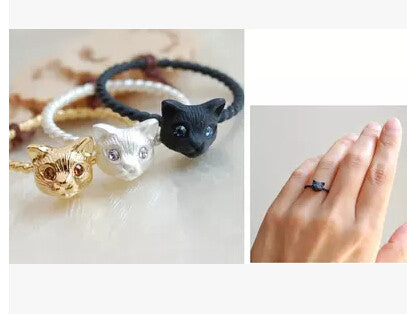 New Cute Cat Head Rings In Black | Silver | Gold For Women