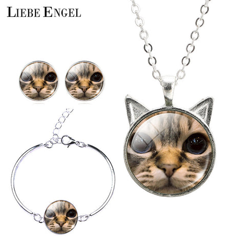 2016 Cute Cat Face Bracelet Necklace & Earrings Set For Women