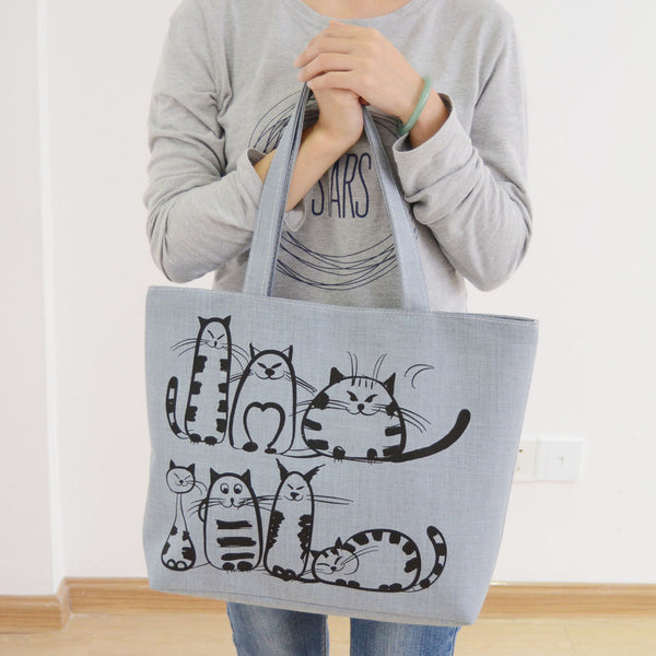 2016 Cartoon Cats Printed Canvas Handbag | Shoulder Bag