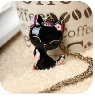 2016 Fashion Black Female Smiling Cat Necklace For Women