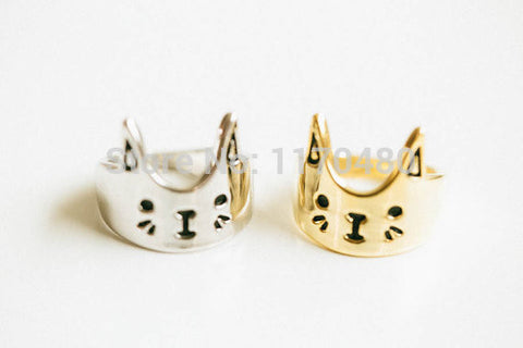 New Fashion Cute Cat Face Ring In Gold | Silver | Rose Gold For Women
