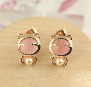 Wild Bow Cat Imitation Pearl Earrings For Women