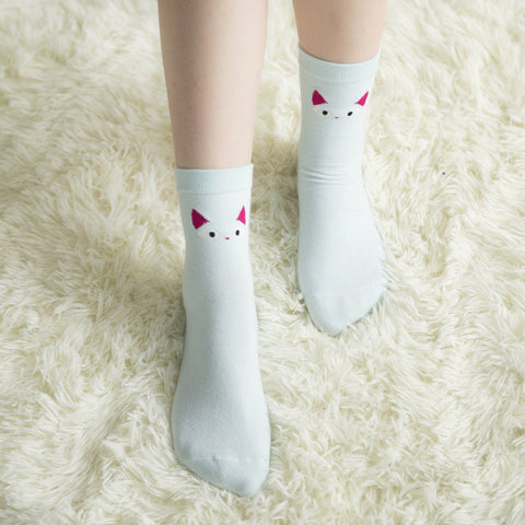 2016 Lovely Cat Design Cotton Socks For Women