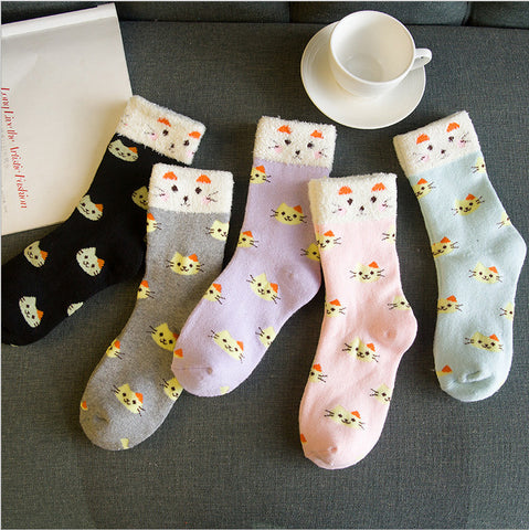 2016 Winter Warm Cotton Lovely Cartoon Cats Socks For Women