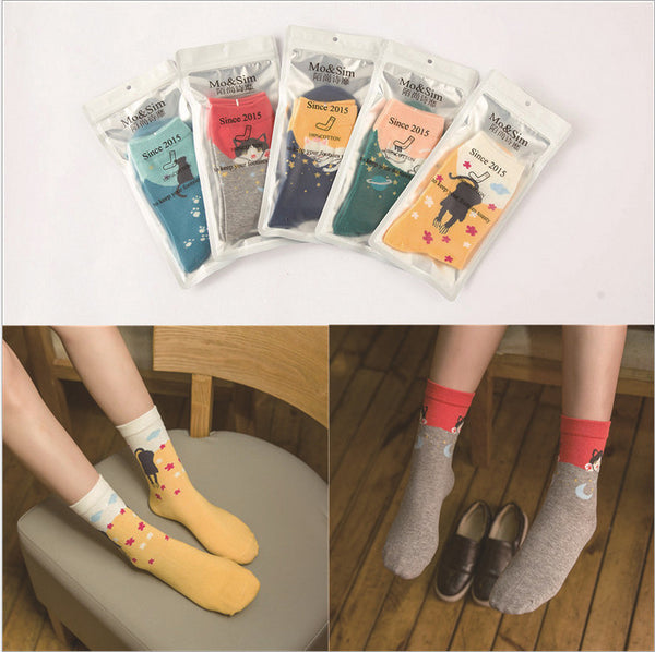 2016 Striped Cartoon Cat Cotton Socks For Women