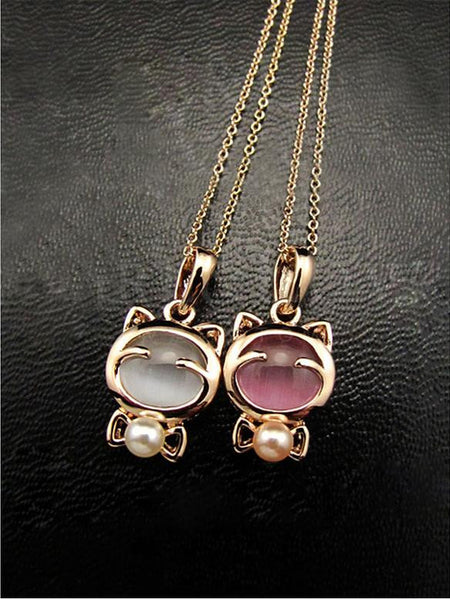 Cute Gold Plated Cat Statement Necklace For Woman