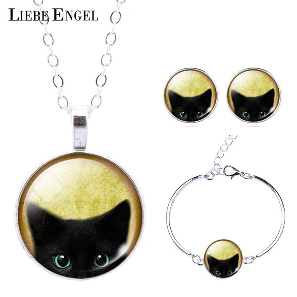 Black Cat Bracelet Necklace & Earrings Set For Women