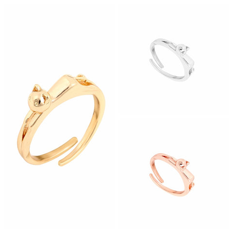 New Cute Cat Ring In Gold | Silver | Rose Gold For Women