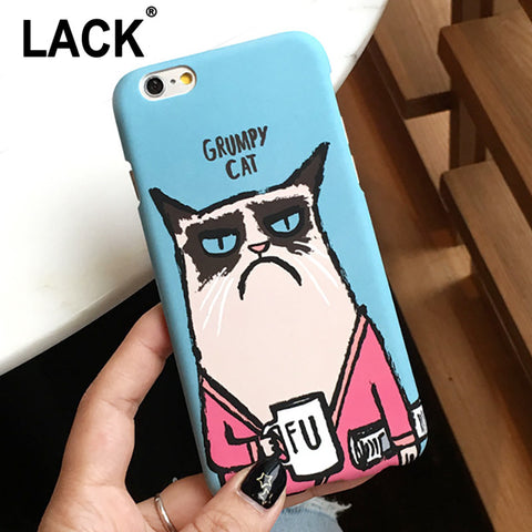 Cute Cartoon Grumpy Cat Phone Case For: iPhone 5  5s  6  6s  6 Plus  6s Plus