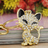 Pretty Cute Cat Enamel Crystal Keychain
