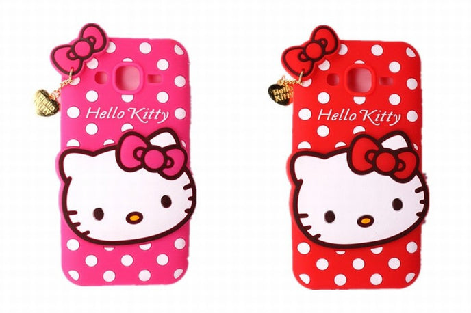 Cute 3D Cartoon Hello Kitty With Heart Pendant Shape Soft Silicone Phone Case: For Samsung Galaxy J2 J200