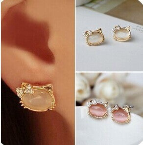 Cute Hello Kitty Crystal Bow-knot Opal Stud Earrings For Women