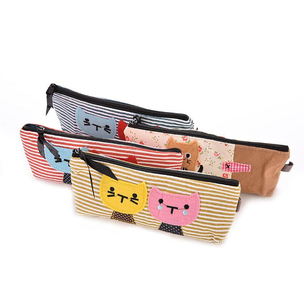 2016 Lovely Cat Canvas Stripe Makeup Bag | Pencil Case