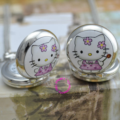 Cute Silver Hello Kitty Mirror Pocket Chain Watch
