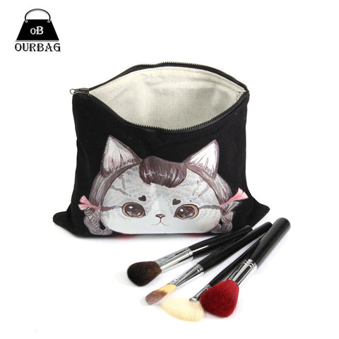 Cute Cat Face Canvas Makeup Bag