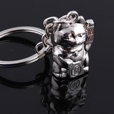 Mini Maneki Neko Fortune Lucky Cat Silver Metal Charm Keychain