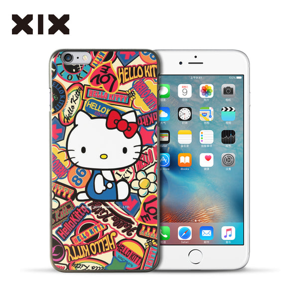 2016 Fashion Luxury Pink Cute Hello Kitty KT Cat Plastic Back Cover Phone Case For: iPhone 6s Plus