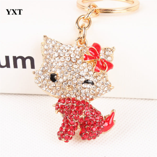 Cute Body Red Butterfly Hello Kitty Cat Crystal Charm Keychain