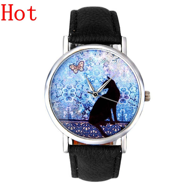 2016 New Cute Cartoon Black Cat Fashion Watch For Women