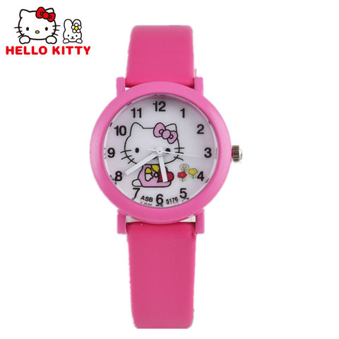 2016 Cute Hello Kitty Cartoon Leather Strap Quartz Watch For Girls