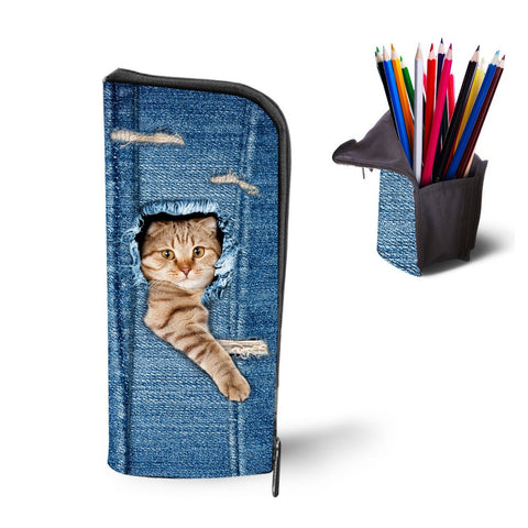 Cute Cats Denim Print Makeup Bag | Pencil Case