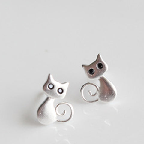 925 Sterling Silver Cute Cat Small Stud Earrings For Women & Girls