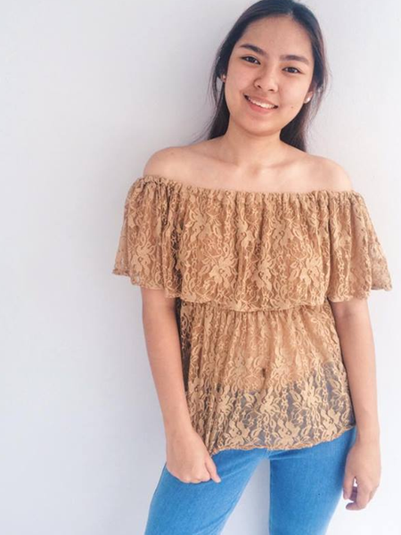 Hailee Lace Offshoulder Top - Copper