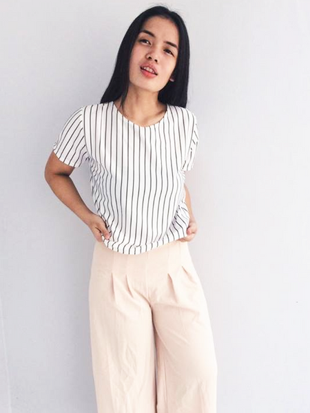 Jeanette Basic Top - White with Black Stripes