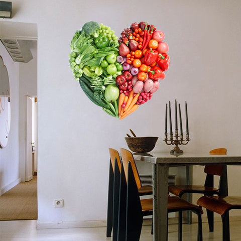 3D Vegetable Fruit Heart Wall Sticker