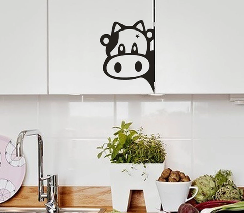 Image of 'Peekaboo Cow' Vinyl Kitchen Sticker (3 sizes, 4 colors)