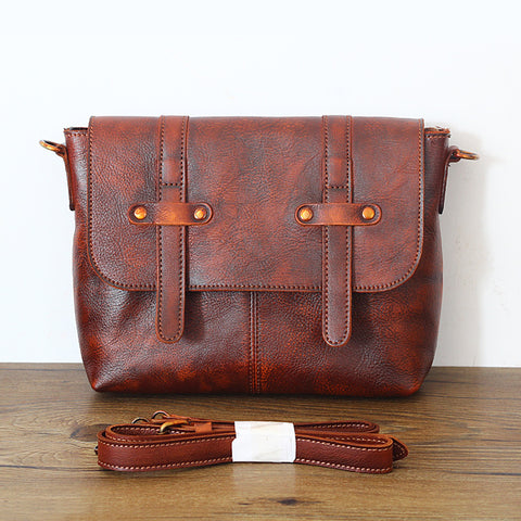 Image of Vintage Designer 100% Genuine Vegetable Tanned Messenger Bag