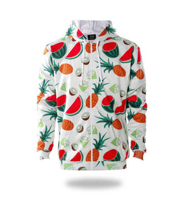 Fruit Pattern Pullover Hoodie with Zipper