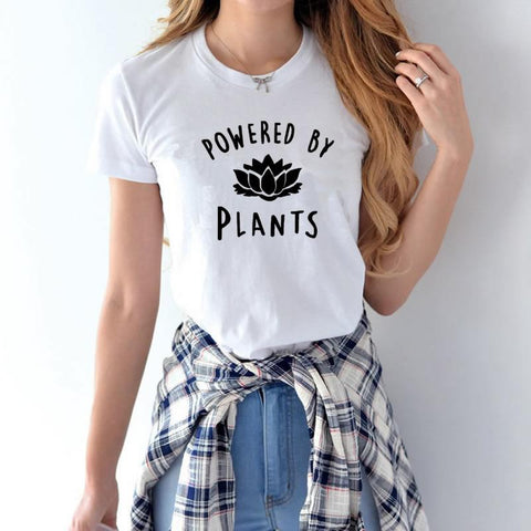 Image of 'POWERED BY PLANTS' Ladies Tshirt - Shop your favorite Cruelty-Free Fashion from www.AllVeganWorld.com | All Vegan World | +1-855-YA-VEGAN