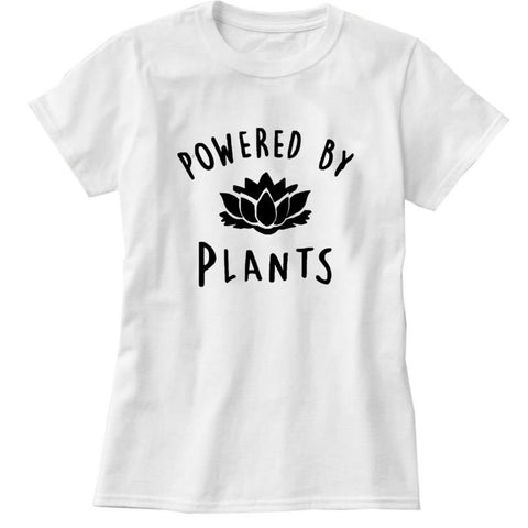 'POWERED BY PLANTS' Ladies Tshirt - Shop your favorite Cruelty-Free Fashion from www.AllVeganWorld.com | All Vegan World | +1-855-YA-VEGAN