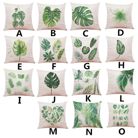 Image of Big Leaf Tropical Plants Home Decor Cushions