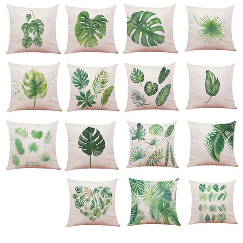 Big Leaf Tropical Plants Home Decor Cushions