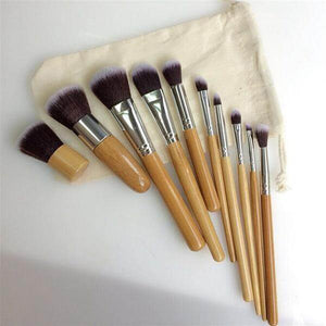 10-piece Eco-Friendly Bamboo Vegan Cosmetics-Brush Set - Shop your favorite Cruelty-Free Cosmetics from www.AllVeganWorld.com | All Vegan World | +1-855-YA-VEGAN