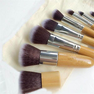 10-piece Eco-Friendly Bamboo Vegan Cosmetics-Brush Set