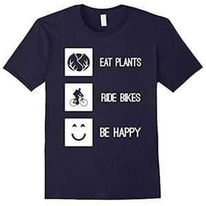 'EAT PLANTS RIDE BIKES BE HAPPY' Unisex Tshirt - Shop your favorite Cruelty-Free Fashion from www.AllVeganWorld.com | All Vegan World | +1-855-YA-VEGAN