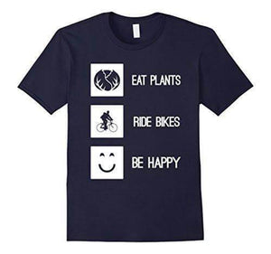 'EAT PLANTS RIDE BIKES BE HAPPY' Unisex Tshirt