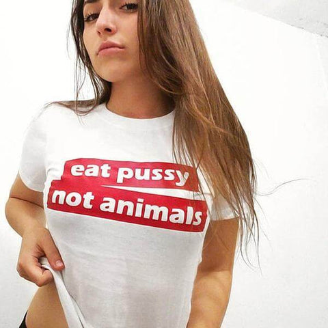 Image of 'eat pussy not animals' Unisex Tshirt - Limited Stock Available - Shop your favorite Cruelty-Free Fashion from www.AllVeganWorld.com | All Vegan World | +1-855-YA-VEGAN