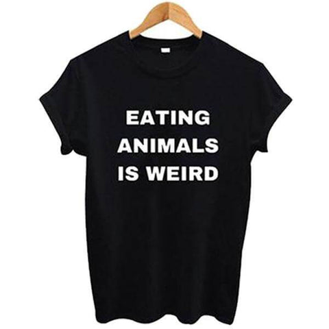 Image of 'EATING ANIMALS IS WEIRD' Ladies Tshirt (2 colors) - Shop your favorite Cruelty-Free Fashion from www.AllVeganWorld.com | All Vegan World | +1-855-YA-VEGAN