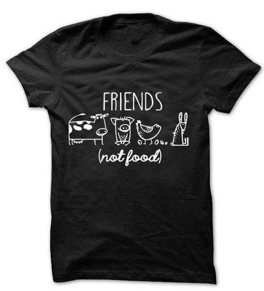 'FRIENDS (not food)' Unisex Tshirt (2 colors) - Shop your favorite Cruelty-Free Fashion from www.AllVeganWorld.com | All Vegan World | +1-855-YA-VEGAN
