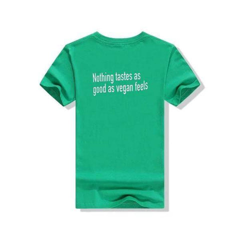 Image of 'Nothing tastes as good as vegan feels' Unisex Tshirt (3 colors) - Shop your favorite Cruelty-Free Fashion from www.AllVeganWorld.com | All Vegan World | +1-855-YA-VEGAN