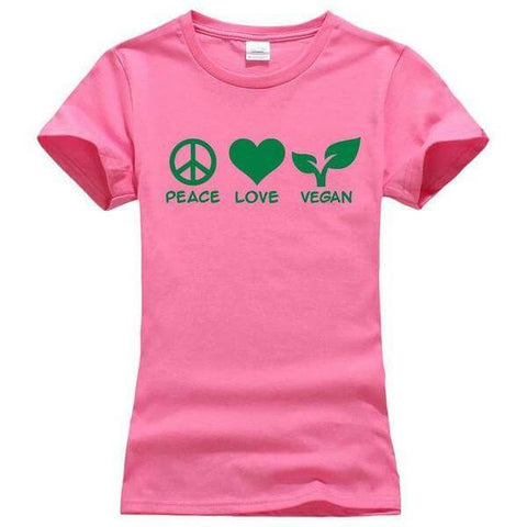 'PEACE LOVE VEGAN' Ladies Tshirt (3 colors) - Shop your favorite Cruelty-Free Fashion from www.AllVeganWorld.com | All Vegan World | +1-855-YA-VEGAN