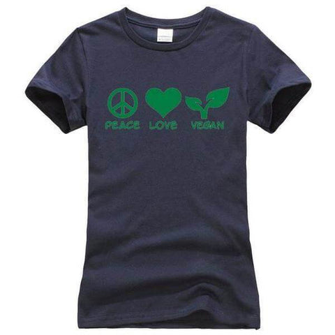 Image of 'PEACE LOVE VEGAN' Ladies Tshirt (3 colors) - Shop your favorite Cruelty-Free Fashion from www.AllVeganWorld.com | All Vegan World | +1-855-YA-VEGAN