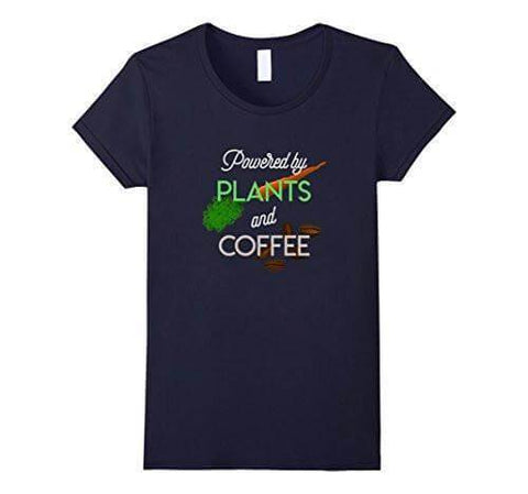 Image of 'Powered by PLANTS and COFFEE' Ladies Tshirt - Shop your favorite Cruelty-Free Fashion from www.AllVeganWorld.com | All Vegan World | +1-855-YA-VEGAN