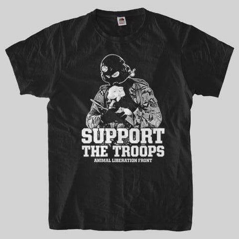 Image of 'Support The Troops ALF' Unisex Tshirt - Shop your favorite Cruelty-Free Fashion from www.AllVeganWorld.com | All Vegan World | +1-855-YA-VEGAN